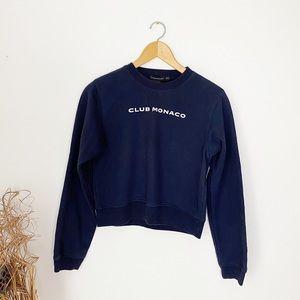 Classic Navy Club Monaco Logo Crewneck Sweatshirt